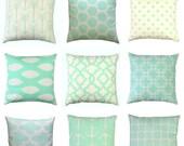 SALE Mint Throw Pillows, Mint Green Pillow Cover, Zippered Pillow, Cushion Cover, Mint Pillow Cases, Green Bed Pillows, Mint Decor, Couch Pi