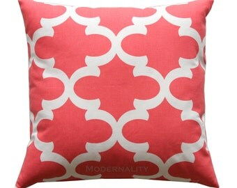 Coral Quatrefoil Pillow, Fynn Coral Pillow Cover, Coral Decorative Pillow, Zippered Pillow, Moroccan Pillow, Trellis Accent Bed Throw Pillow