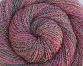 Luxury Handspun Yarn - WILD ENGLISH ROSES - Handpainted Silk / Bluefaced Leicester wool, Dk weight, 270 yards