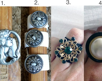 Button Rings Upcycled Jewelry / Vintage Buttons on Black Elastic / Fits Most / Choose a Ring