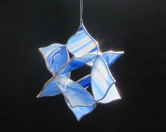 Stained glass suncatcher hanging 3 dimensional Floral Star, blue and white swirl baroque glass great gift. 3D stained glass hanging