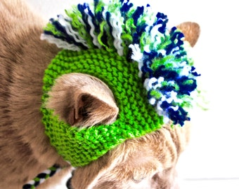 Mohawk Cat Hat - Lime, Navy, and White - Hand Knit Cat Costume (READY TO SHIP)