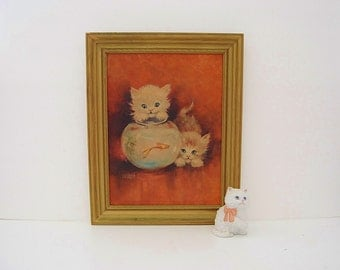Vintage Cat Lithograph, Kitsch Kitten and Fishbowl Picture, Florence Roger Art, Framed Orange Cats Photo, Granny Chic