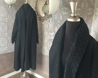 Vintage 1950's 60's Black Ribbon Coat with Shawl Collar L/XL