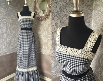 Vintage 1960's 70's Black and White Gingham Boho Sun Dress Maxi Dress Size XS