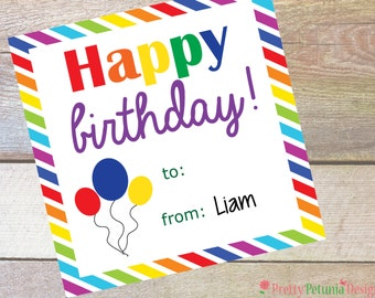 Personalized Birthday Tags - Gift Tags - Boy or Girl - Printable