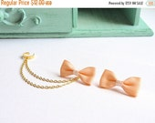 VALENTINES DAY SALE Peach Bow Gold Double Chain Ear Cuff Earrings (Pair)