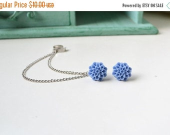VALENTINES DAY SALE Periwinkle Mums Double Silver Chain Ear Cuff Earrings (Pair)