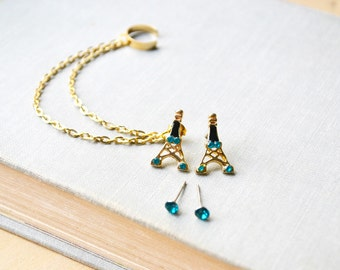 Blue Eiffel Tower Ear Cuff Earrimgs Set