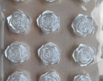 Roses 20 Self Adhesive Fashion Decorations Pearled White