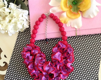 Bright Red Statement Necklace, Bold Chunky Necklace, Bib Necklace, Romantic Necklace, Ruffle Necklace, Handmade Polymer Clay Jewelry