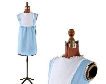 ON SALE Vintage 1970's Pale Sky Blue Baby Doll Mini Mod Lace Trim Shift Dolly Dress S Nos
