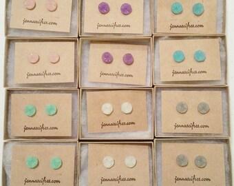 Druzy Post Earrings - Grey, Purple, Green, Pink, White or Blue - Button Stud Earrings - Titanium Earring - 10mm Sensitive Ears