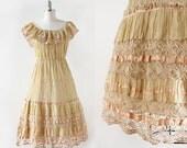 1960s dress / Crochet and Ribbon Dress / Pin Tuck Pleats Dress / Cotton Crochet Boho Dress / Medium