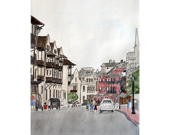 Fine Art Print Rosemary Beach Street Scene No 1  Pen and Ink and Watercolor 8 x 10
