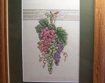 Handmade Counted Cross Stitch Framed Picture of Grapes 12.5 x 15 Inches