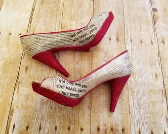 Red shoes, Red heels, newspaper print shoes, red glitter, glitter shoes, Wedding shoes, Bridal shoes