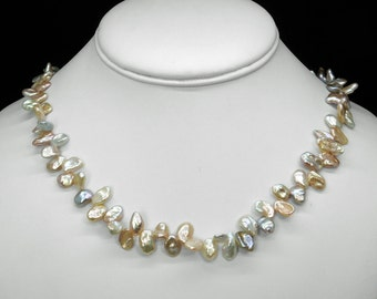 Keshi Freshwater Pearl Necklaces in Silver