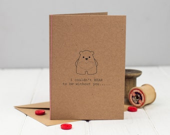 Bear Valentine's Day card - Card for him - Card for her - Anniversary Card - Romantic Card - Cute Card