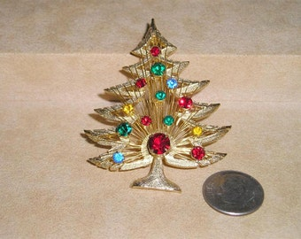 Vintage Signed Brooks Rhinestone Wire Work Christmas Tree Brooch 1960's Jewelry Pin 2225