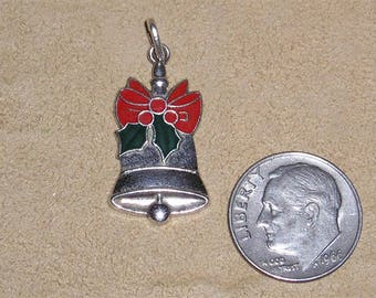 Vintage Signed Wells Sterling Silver Christmas Charm Or Pendant With Enamel 1950's Jewelry 3007