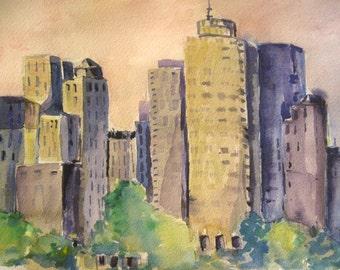 Original  Watercolor Painting Boston Cityscape City Scape Skyline CarlottasArt