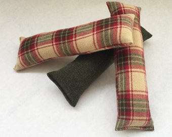 Kitty Kicker, Cat Toy, Catnip Toy, Cat Kicker, Red, Green, and Oatmeal Plaid Flannel