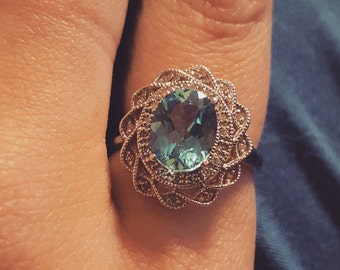 Vintage 14k White Gold, Blue Topaz Diamond ring,