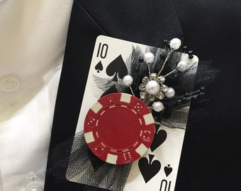 Poker Card & Chip pin/Boutonniere - Wedding, Prom, Sweet 16, Casino Night
