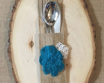 Burlap Silverware Holder with Teal fabric flower - Set of 4 Easter Spring Summer