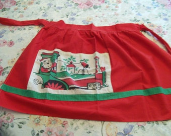 Santa Christmas Apron Vintage Holiday Train Apron