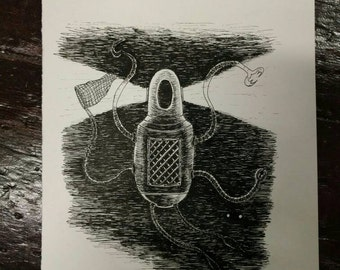 Underwater Robot - original pen and ink robot drawing- FREE WORLDWIDE SHIPPING
