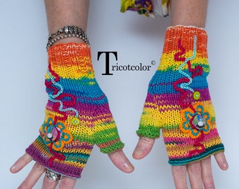 Mitaines femmes tricot main tricotcolor