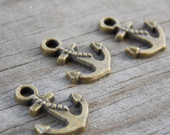 12 Bronze Anchor Charms 17mm