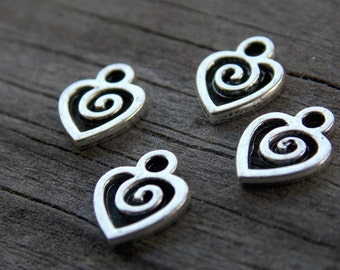 20 Antiqued Silver Heart Tiny Charms 10mm