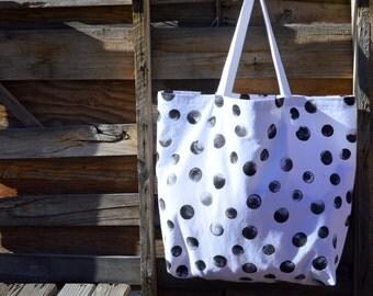 Hand Painted Beach Bag- Beach Bag- Tote Bag-  Large Beach Bag-