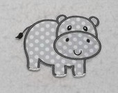 Hippo (large) Tutu & Shirt Supplies - fabric iron on Applique Patch 7396