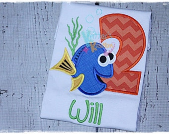 Custom Boys Finding Dory - Finding Dory - Tang Fish Inspired Birthday Embroidered Applique Shirt