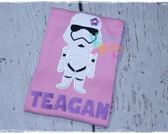 Girls Storm Trooper - Star Wars Inspired Embroidered Applique Shirt