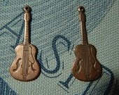 2 Pc Guitar Charm Copper Ox One Sided Stamping Musical Instrument