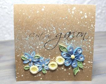 Baby boy-birth-card-boy-quilling-kraft cardboard card-quilled flowers-blue-french