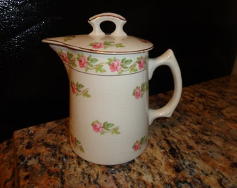 Antique Pink Rose Pitcher with Lid