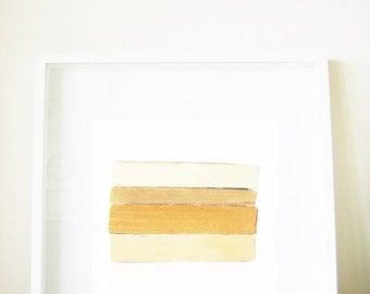 Modern Simple Print - Honey and Oatmeal - Scandinavian style, books, white, light beige, ivory, faded brown, soft orange, camel, 8x8