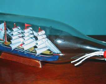"""Four Masted SHIP in a BOTTLE 11"""" long- New old stock in box."""