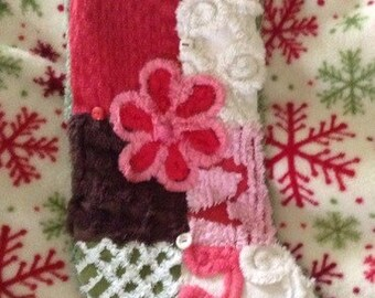 Christmas Stocking Vintage Chenille Girl Patchwork Quilted