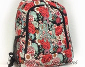 Personalized Floral Backpack - Girls Booksack - Full Size School Backpack Floral Pattern in Reds & Coral Monogrammed Free