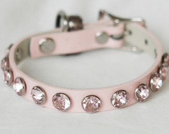 "Pink PU Leather Dog Collar, Small pink leather dog collar, Dog collar jewels, small dog collar fits 10.5-11"" neck"