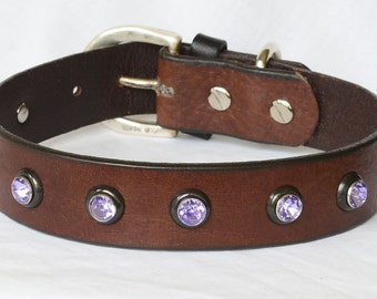 Brown Leather Dog Collar, Custom Leather Dog Collar,  Full Grain Leather Collar w/ Sturdy Lavender Rivets. sizes 17 - 23""