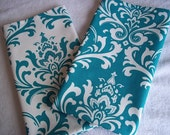 Damask Turquoise and White Fabric Tea Towels