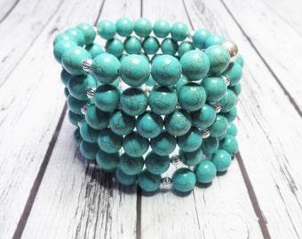 Teal Cuff Bracelet Teal Wrap Bracelet Bridesmaid Bracelet Statement Bracelet - Turquoise Bracelet Davids Bridal Pool Malibu